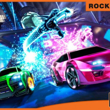 Banner Rocket League carreras y fútbol con coches.