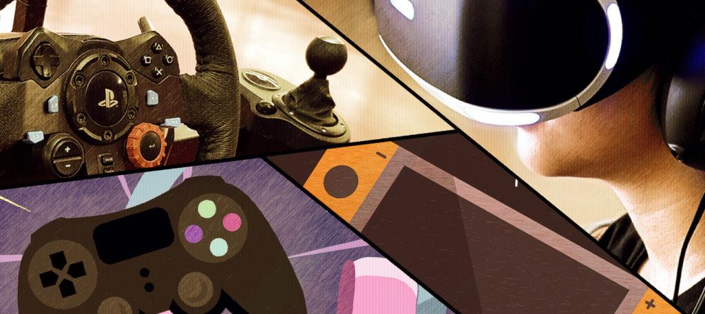 Fotografía con diseño que incluye una Nintendo Switch