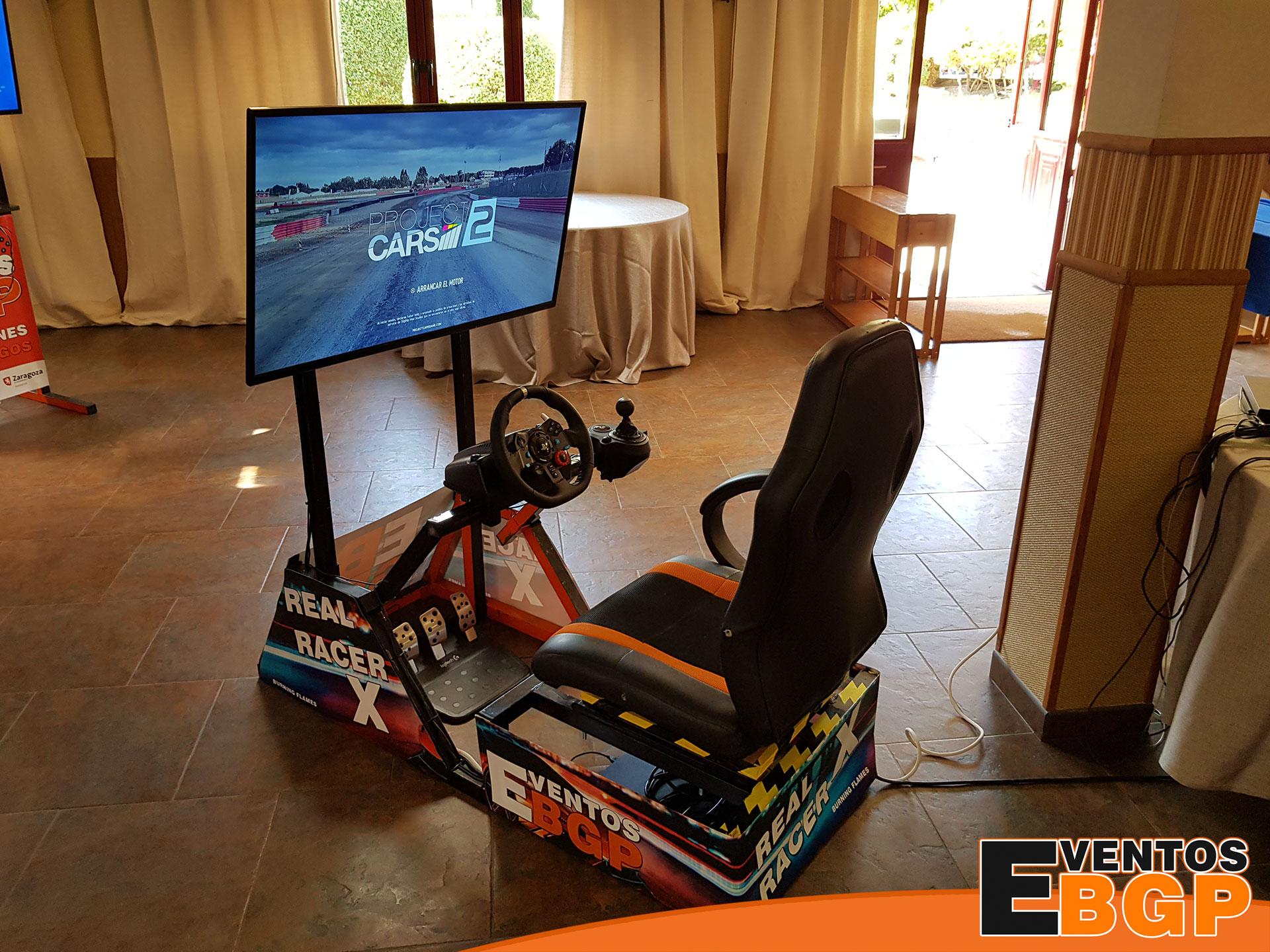 Simulador de carreras en evento corporativo