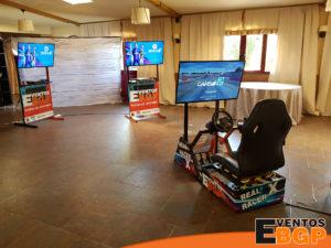 Simulador de carreras en una celebración privada